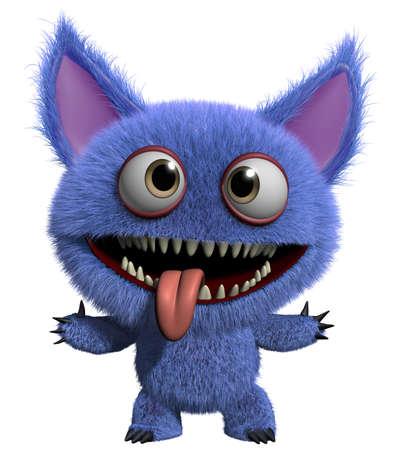 3d cartoon schattige harige gremlin monster