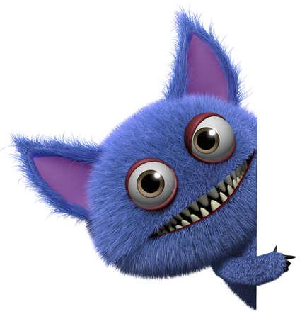 3D de dibujos animados lindo monstruo peludo gremlin