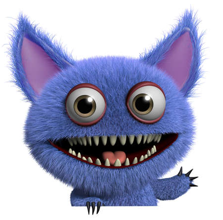 3d cartoon cute furry gremlin monster Imagens - 15743615