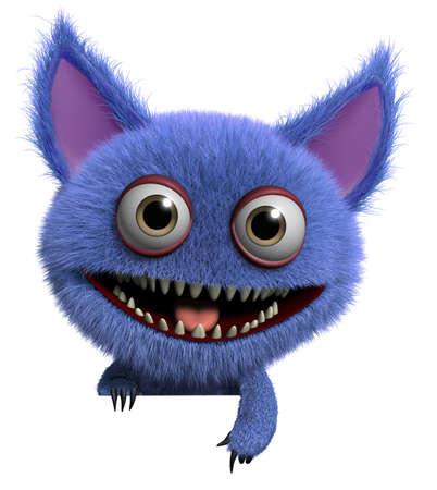 3d cartoon cute furry gremlin monster Imagens - 15743542