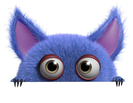 3d cartoon cute furry gremlin monster Imagens - 15743513