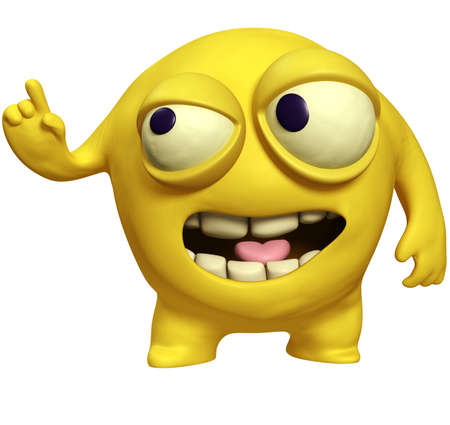3d cartoon yellow virus photo