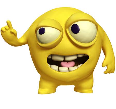 bacteria tooth: 3d cartoon yellow virus Stock Photo