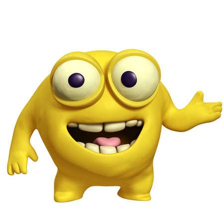 unicellular: giallo cartone animato carino mostro Archivio Fotografico