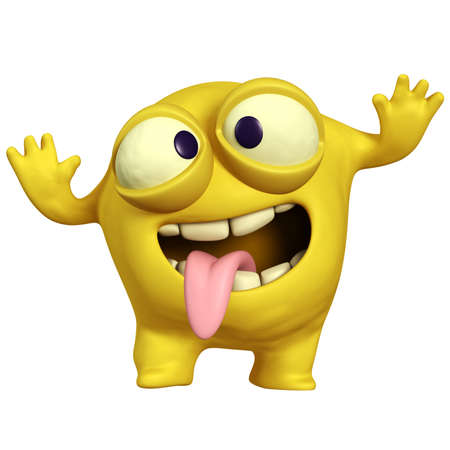 cartoon crazy yellow monster