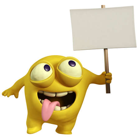 cartoon yellow monster holding placard