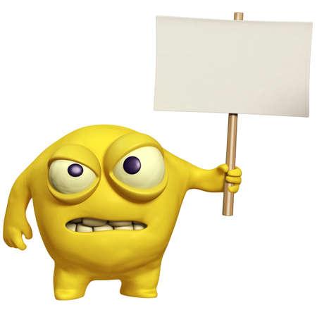 filth: cartoon halloween monster holding placard Stock Photo