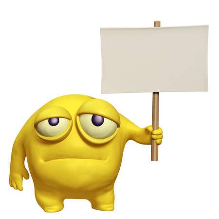 sad monster holding placard photo