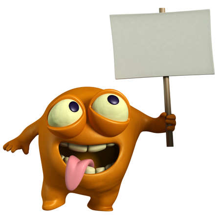 ugliness: cartoon orange monster holding placard