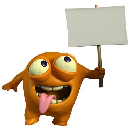 cartoon orange monster holding placard Stock Photo - 15743255