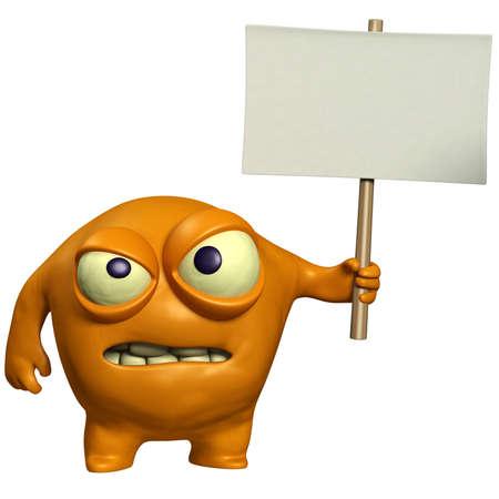cartoon halloween monster holding placard Stock Photo - 15743257