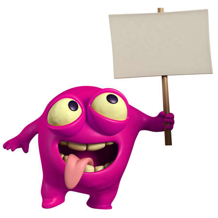 pink monster holding placard photo