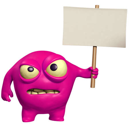 halloween monster holding placard photo