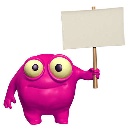 unicellular: carino mostro azienda placard Archivio Fotografico
