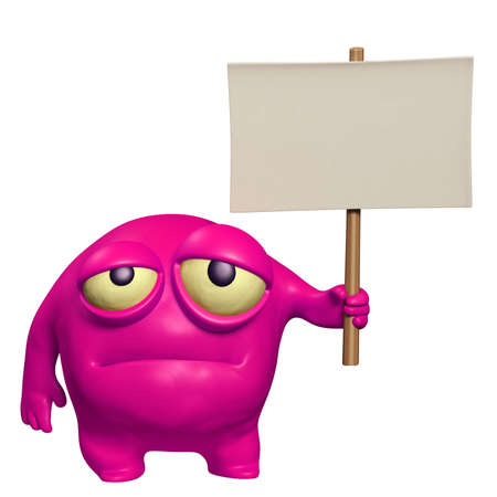 sad monster holding placard photo