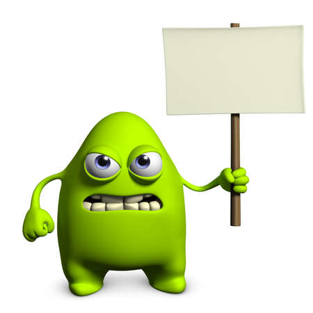 3d cartoon cute monster holding placard photo