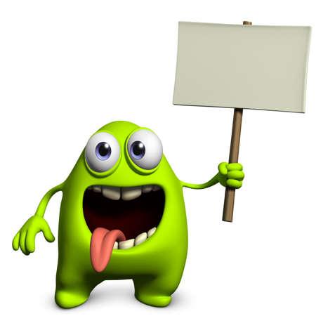 placards: 3d cartoon cute monster holding placard Stock Photo