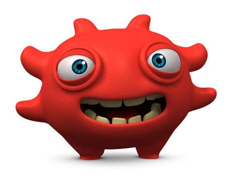 unicellular: 3d cartoon happy red virus