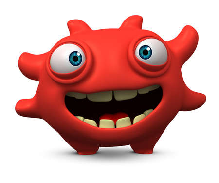 micro: 3d cartoon cute virus Stock Photo