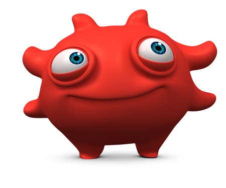 3d cartoon cute virus Stock Photo