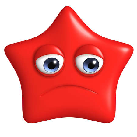 sad eyes: 3d cartoon cute star Stock Photo