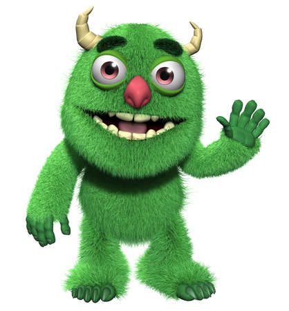 3d cartoon cute furry monster Stock Photo