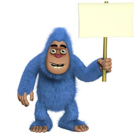yeti: Blue Yeti holding blank