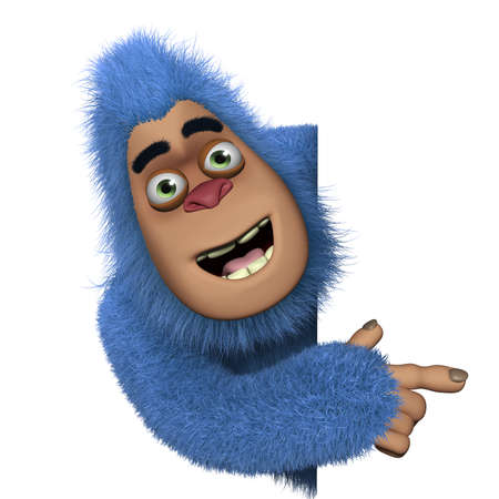 cartoon monster: cute blue bigfoot