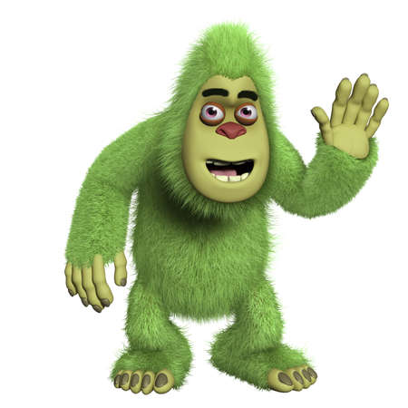 abominable: cartoon cute green yeti Stock Photo