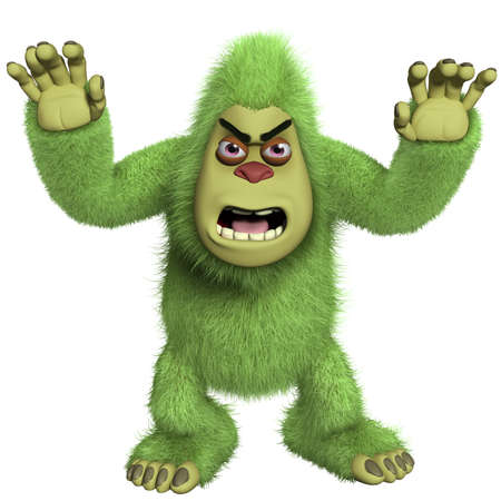 yeti: cartoon horror green yeti