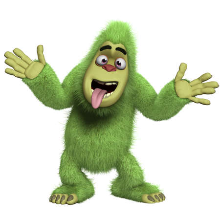 yeti: cartoon crazy green yeti Stock Photo