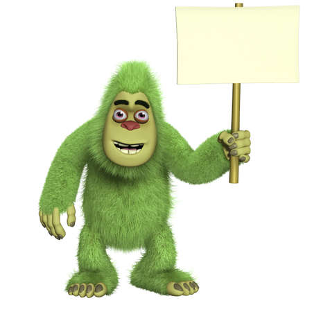 yeti: cartoon green yeti holding  blank Stock Photo