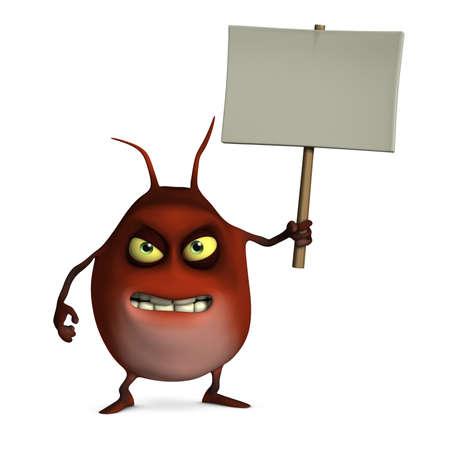 freak: 3d cartoon bug holding placard