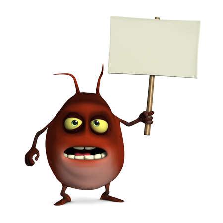 unicellular: 3d cartoon cute monster holding blank Stock Photo