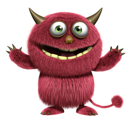 cartoon red hairy alien Stock Photo - 15810530