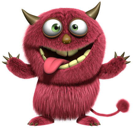 monsters: cartoon red hairy alien Stock Photo