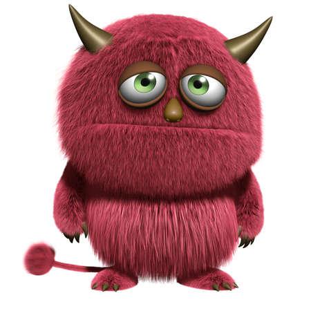 furry animals: rojo de dibujos animados monstruo peludo Foto de archivo