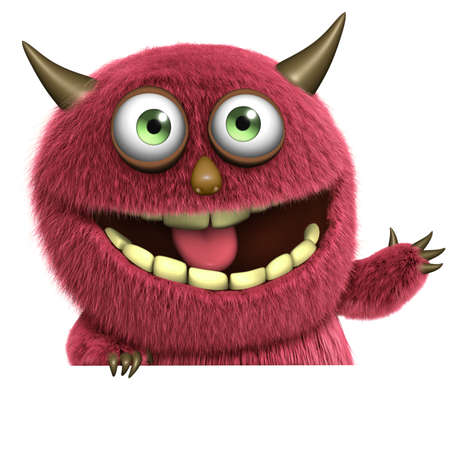 cartoon red hairy monster photo