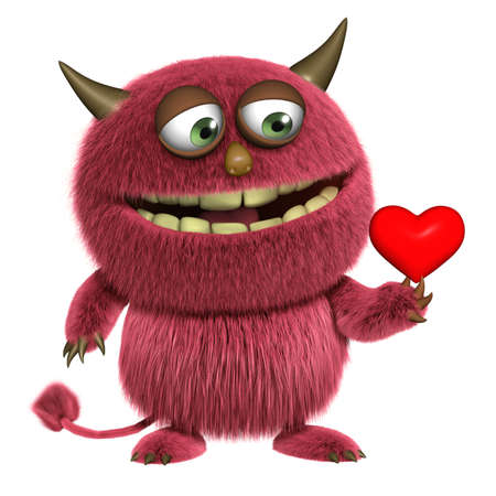 cartoon love red hairy alien photo