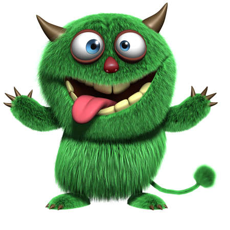 3d cartoon harige monster