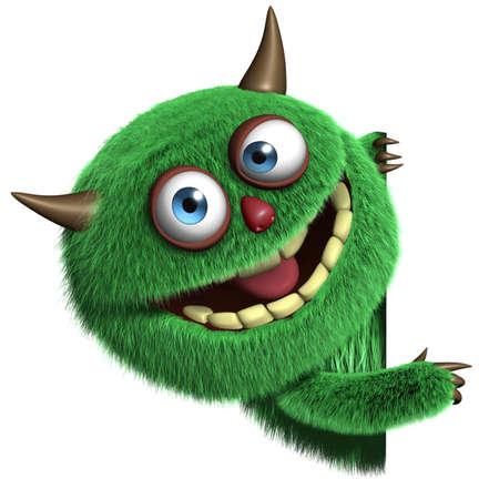부드러운 털의: 3D 만화 모피 귀여운 괴물 스톡 사진