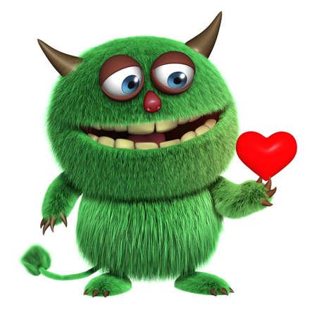 3d cartoon furry love monster