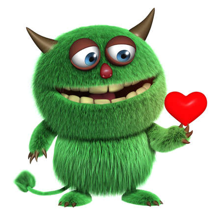 3d cartoon harige liefde monster Stockfoto