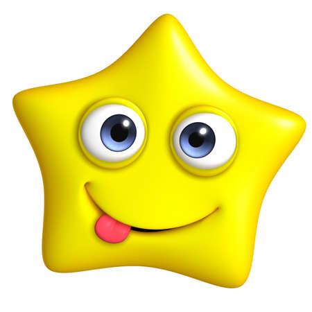 estrella caricatura: 3D de dibujos animados lindo de la estrella Foto de archivo