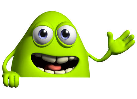 advertise: 3d cartoon cute virus Stock Photo