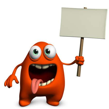 monster symbol: 3d cartoon furry cute monster holding placard