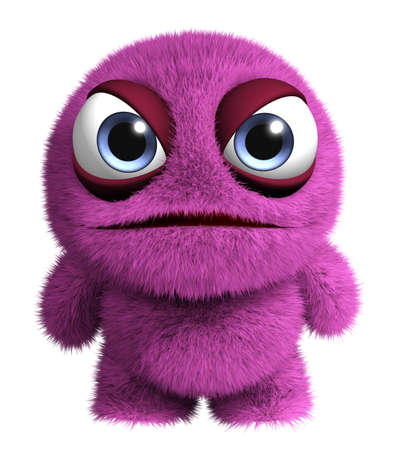 3d cartoon cute furry monster Standard-Bild
