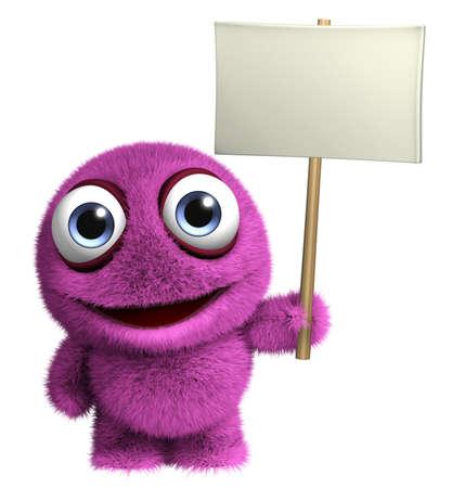 fuzz: 3d cartoon cute germ holding placard Stock Photo