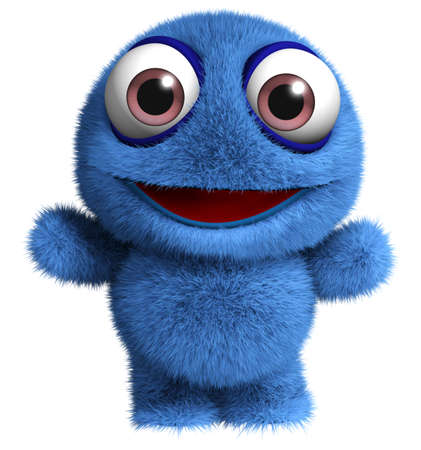 hairy adorable: 3d cartoon cute furry monster toy