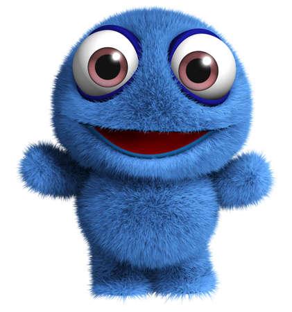 3d cartoon schattige harige monster speelgoed
